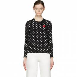 Comme Des Garcons Play Black Polka Dot Heart Patch T-Shirt 171246F11001701GB