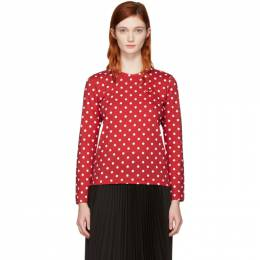 Comme Des Garcons Play Red Long Sleeve Polka Dot Heart Patch T-Shirt 172246F11001901GB