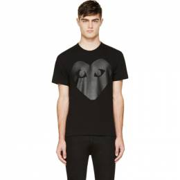 Comme Des Garcons Play Black and Carbon Glossy Heart Logo T-Shirt 42246M04100101GB