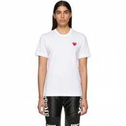 Comme Des Garcons Play White and Red Mens Fit Heart Patch T-Shirt 191246F11000202GB