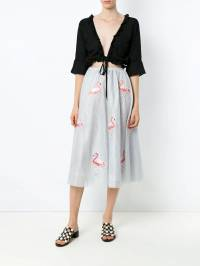 Olympiah - flamingo patches tulle skirt 53690595090000000000