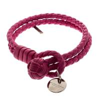 Bottega Veneta Pink Intrecciato Nappa Leather Double Strand Bracelet M
