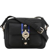 Versace Jeans Black Faux Pebbled Leather Crossbody Bag 153673