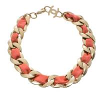 Chanel Pink Fabric Gold Tone Chain Link Choker Necklace