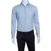 Boss Orange By Hugo Boss White and Blue Floral Printed Long Sleeve Shirt S 142577