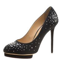 Charlotte Olympia Black Crystal Embellished Linen Bejeweled Dotty Platform Pumps Size 41