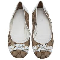 Gucci Beige/White GG Canvas/Leather Ballet Flats Size 39