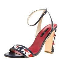 Carolina Herrera Blue Multicolor Floral Printed Fabric and Leather Ankle Strap Sandals Size 39