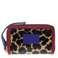 Marc By Marc Jacobs Brown/Red Leopard Print Coated Canvas Wingman Wallet 145177
