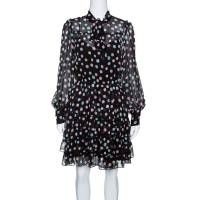 Marc Jacobs Black Pastel Polka Dotted Tiered Ruffle Detail Dress S