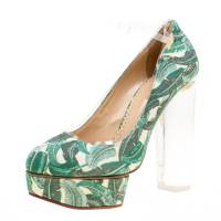 Charlotte Olympia Green Leaves Printed Canvas and PVC Mabel Platform Pumps Size 39
