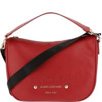 Versace Jeans Red Faux Pebbled Leather Messenger Bag 161926