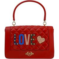 """Love Moschino Red Quilted Faux Leather """"LOVE"""" Top Handle Bag"""