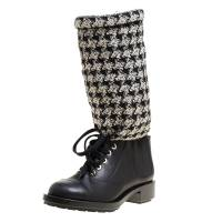 Chanel Black/Off White Leather and Tweed Lace Up Chain Detail Boots Size 36.5 150055