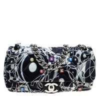 Chanel Multicolor Quilted Printed Nylon Flap Shoulder Bag