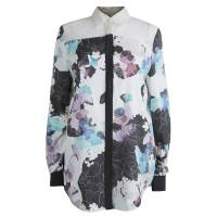 3.1 Phillip Lim Floral Printed Silk Sheer Yoke Detail Shirt S 80112