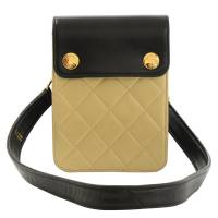 Chanel Bi Color Quilted Lambskin Mini Pouch Bag