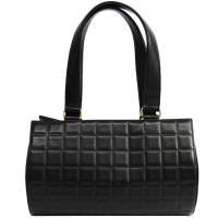Chanel Black Bar Quilted Leather Bowling Bag