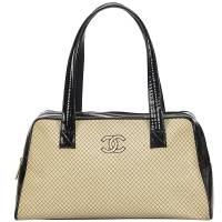 Chanel Two Tone Quilted Wool/Leather Bowling Bag