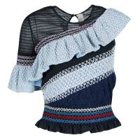 Peter Pilotto Blue Smocked Asymmetric Ruffle Detail Octave Top S 139275