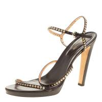 Sergio Rossi Brown Studded Strappy Leather Open Toe Platform Sandals Size 40.5