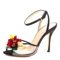 Charlotte Olympia Black Canvas And PVC Tropicana Embellished Sandals Size 38 126488