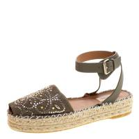 Valentino Army Green Embellished Suede and Leather Ankle Strap Espadrilles Size 40