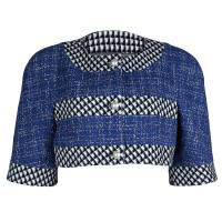Chanel  Multicolor Tweed Pearl Button Detail Textured Cropped Jacket M