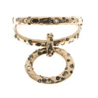 Chanel Crystal Embedded Gold Tone Open Cuff Charm Bracelet