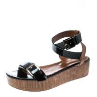 Sergio Rossi Black/Brown Leather Ankle Strap Wedge Sandals Size 40