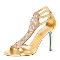 Loriblu Metallic Gold Leather and Suede Crystal Embellished Sandals Size 38