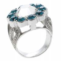 Dior Blue Crystal Flower Silver Tone Ring Size 52 143906
