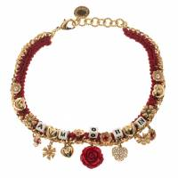 Dolce & Gabbana Amore Red Woven Gold Tone Choker Necklace