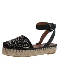 Valentino Black Embellished Suede and Leather Ankle Strap Espadrilles Size 38