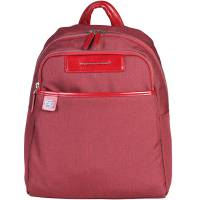 Piquadro Red Nylon and Leather Backpack 157896