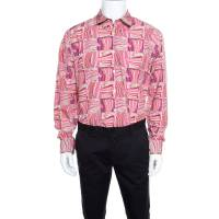 Salvatore Ferragamo Pink Sailboat Printed Cotton Long Sleeve Shirt XL 160283