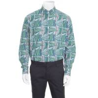 Salvatore Ferragamo Blue and Green Sailboat Printed Cotton Long Sleeve Shirt XL 163777