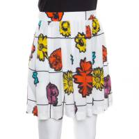 Moschino Couture White Winter Flower Sable Printed Pleated Skirt S 164626