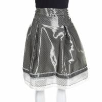 Chanel Grey and White Lace Trim Pleated Organza Skirt XL 155321