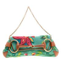 Gucci Multicolor Fabric Limited Edition Tom Ford Horsebit Chain Clutch