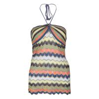 M Missoni Multicolor Patterned Perforated Knit Rope Tie Detail Halter Top S 139928