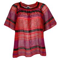 M Missoni Multicolor Striped Perforated Textured Knit Top M 136550