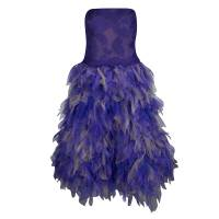 Tadashi Shoji Purple and Begie Tulle Embroidered Faux Feather Strapless Dress M 138954