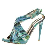 Baldinini Green Floral Print Leather Criss Cross Sandals Size 38