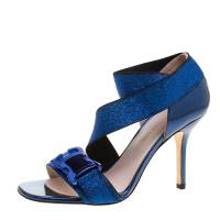 Christopher Kane Electric Blue Leather and Lurex Safety Buckle Open Toe Sandals Size 38 128961