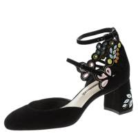Sophia Webster Black Embroidered Suede Liliana Mary Jane Block Heel Pumps Size 37.5 125524