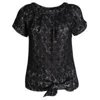 Marc By Marc Jacobs Black Metallic Medallion Lace Bow Detail Top XS 113592