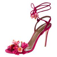 Aquazzura Paradise Pink Suede Tropicana Tasseled Beaded Ankle Wrap Sandals Size 39.5