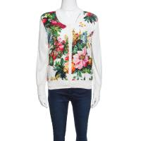 Dolce and Gabbana Cream Floral Print Embossed Jacquard Button Front Cardigan L