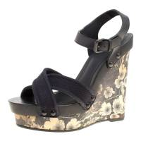 Bottega Veneta Black Leather and Canvas Floral Printed Wooden Wedge Cross Strap Sandals Size 40.5 150556
